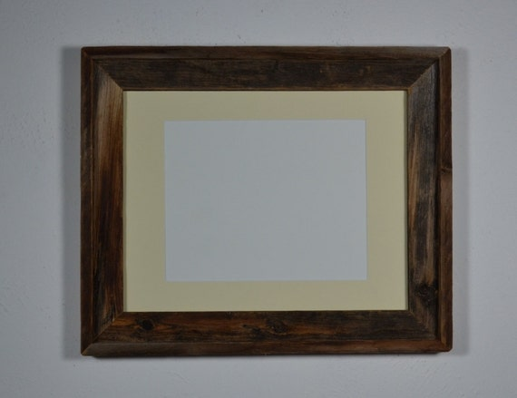 Recycled barn wood picture frame  11x14 off white 8x10 mat beautiful  patina