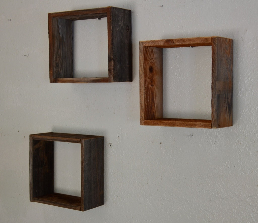 Reclaimed Barnwood Shadow Box Wall Shelves