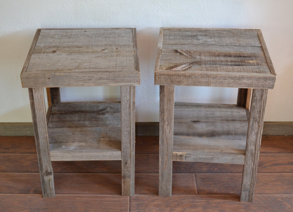 Reclaimed Wood End Tables ~ Reclaimed barnwood wood end table or night stand pair
