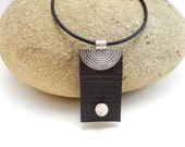 Black Zen Inspired Leather Necklace with Single Bead, Handmade Leather Jewelry, Women's Leather Accessory
