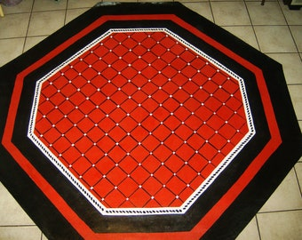 FLOORCLOTH  / Hand Crafted Rug /  / OCTAGONAL  / 7'x7' / RED / Harlequin