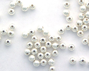 50 - 4mm Round BEADS 925 Sterling Silver Seamless