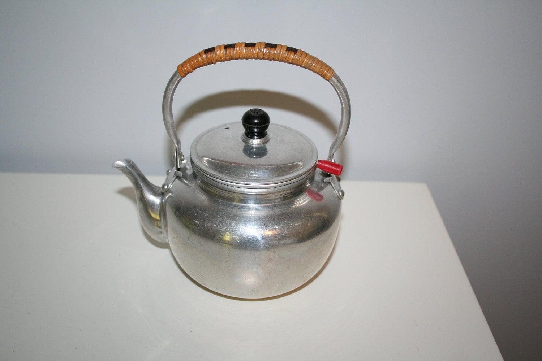 Vintage little aluminum teapot with tea strainer from japan - Japanese teapot with strainer ...