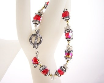 Ruby swarovski crystal with spinners bracelet