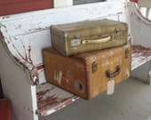 Antique Suitcase 1940s Tweed with Travel Stickers Square Shape (00375-PB)