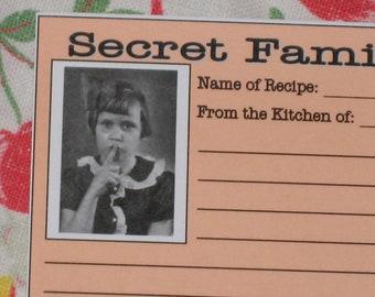 PDF Recipe Cards - Vintage Retro Style - Secret Family Recipe Gift Idea (04559-LV)