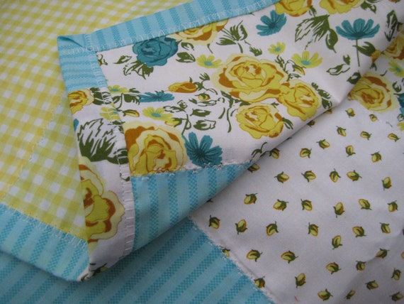 lightweight quilt, picnic blanket, baby blankie, lap quilt, yellow, floral, blue
