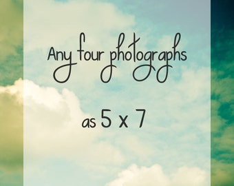 Any 4 Photographs 5x7 - Custom Order. Personalized gift . hostess housewarming or wedding gift . home decor . nature photography - wall art