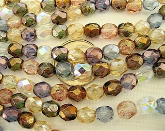 100 Mixed Luster Czech Fire Polished Beads 6mm