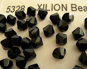 20 Jet Swarovski Crystals Bicone 5328 6mm