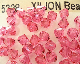 20 Rose Swarovski Crystals Bicone 5328 6mm