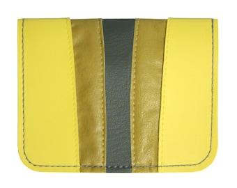 Yellow Mustard Charcoal Retro Striping Vinyl / Cotton Wallet