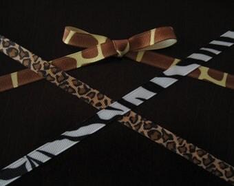 "5 yards of 3/8"" Animal Print Grosgrain Ribbon--Your Choice of Print"
