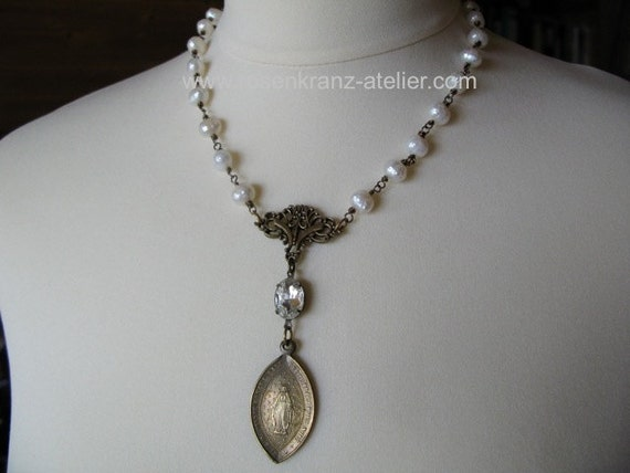 Antique French Immaculate Conception Medal Necklace Catholic Jewelry