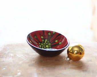 Bowl READY to SHIP Small Serving Bowl Nut Dish Red Poppy Small Off Center Bowl Ceramic Bowl Pottery Modern Home Decor Gift for Coworker RP