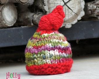 NEWBORN Photography Prop - Baby Knit Hat - Red and Green - Twin Prop - Christmas - Handdyed and Handspun yarn