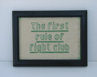 The First Rule Of Fight Club Counted Cross Stitch