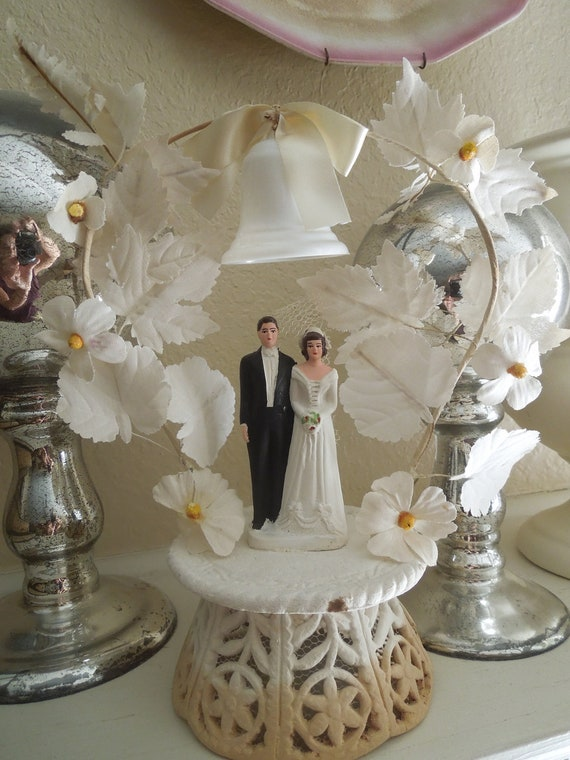 Vintage Wedding Gifts For Bride And Groom : Vintage 1950 Bride and Groom Wedding Cake Topper by LemonIceBoxPie