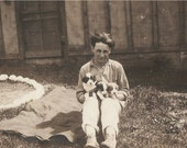 Wonderful ANTIQUE DOG PHOTO - a Cute Young 1920's Fella holding two adorable Fluffy Puppy Dogs - sweet snapshot