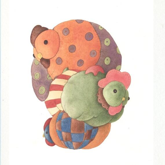 Three French Hens original artwork by Gretel Parker