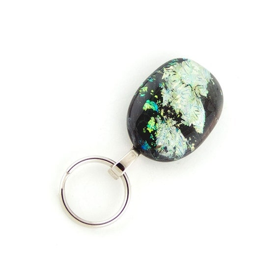 magnetic id badge holder - multi-colored dichroic fused glass lanyard