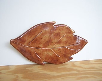 Stoneware Ceramic Leaf Plate in Shino Glaze - Rusty Orange Leaf Plate