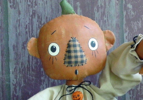 CF235 - Peek-A-Boo PDF ePattern Cloth Doll Pattern Pumpkin Head, Cat and JOL