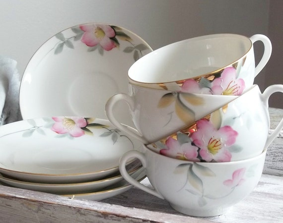 Vintage 1920s Shabby Cottage Nortake Nippon Handpainted Bone China Pink AZALEA Tea Coffee Cups and Saucers