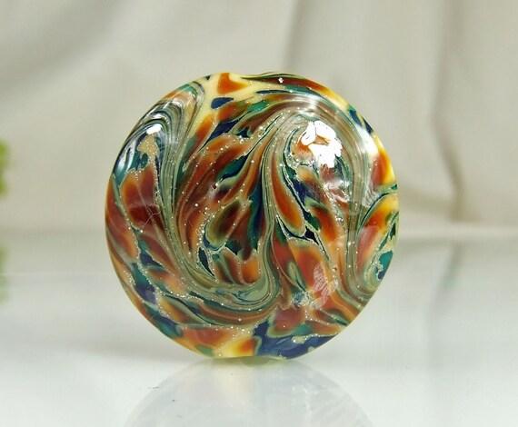 Silvered Teal,Blue,Orange Lampwork Bead Set