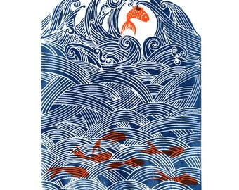 seven fish for luck. Original hand pulled screen print.