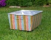 Flea Market Fancy Turquoise Seedpod Stripe Galvanized Tub Rectangular Storage Bin