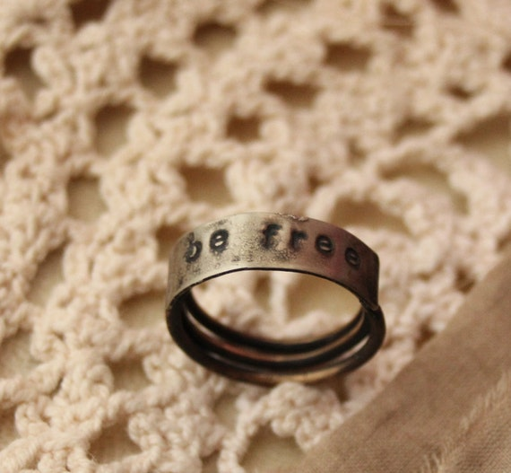 be free - stamped brass coil ring 7.5