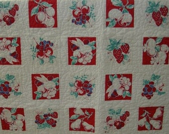 Lap Quilt from vintage tablecloth --free shipping