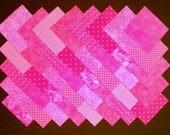 BRIGHT PINK Prints 100% cotton prewashed 40  4 inch  Quilt Block Fabric Squares (#stk19C)