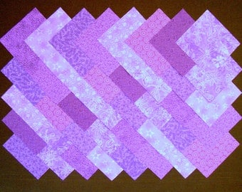 PURPLE Prints 100 % cotton Prewashed 4 inch Quilt Block Fabric Squares (#A/7E)