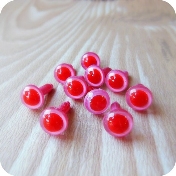 9mm Pink/Red/Albino Safety Eyes - 5 pairs Craft Eyes - LAST Set