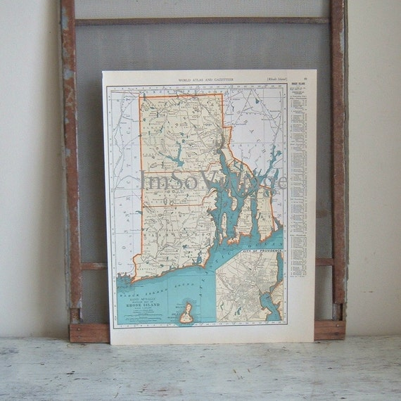 vintage map Rhode Island and South Carolina 1938