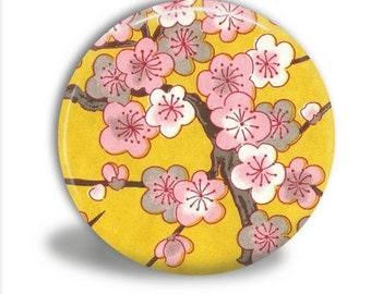 Cherry Blossoms Yellow Pocket Mirror, Purse Mirror, Wedding Favors