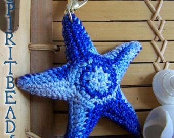 Crystal Blue Waters Starfish Crochet Keychain