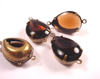 Vintage Cognac dark amber Glass Pear Connector Charms 18x13 2 Ring Open Back Brass Ox