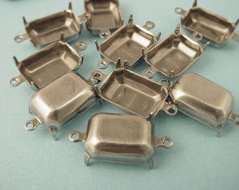 12 silver  Ox antique style Octagon Prong Setting Connectors 14x10 closed back