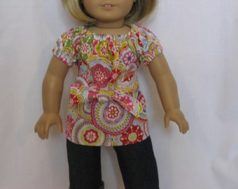 American Girl Doll Clothes - Cuffed Jeans and Colorful Top