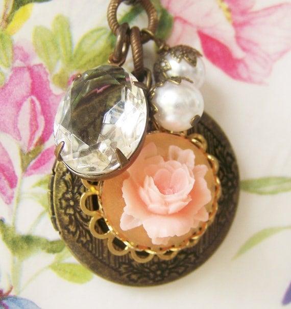 Romantic Rose Antiqued Locket Necklace