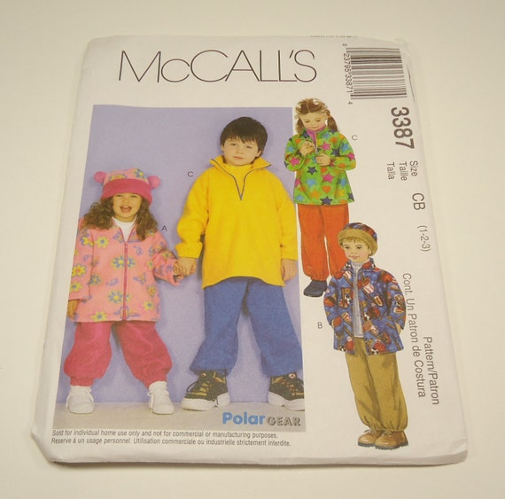 McCalls Toddlers' And Childrens' Jacket, Pullover Top, Pull On Pants And Hat Pattern 3387 Size 1 2 3