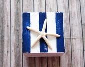 painted wood box, nautical style box, ring bearer box, vanity keepsake box, white and blue box, ring keeper