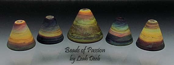 Handmade Glass Bead Set Lampwork - 5 Earthy Rainbow Tie Dye Cones