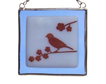 Bird on a Branch Fused Glass Suncatcher Light Catcher Sapphire