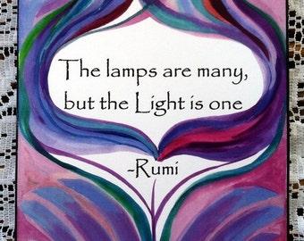 Lamps Are Many RUMI Inspirational Quote Yoga Meditation Motivational Print Spiritual Harmony Typography Heartful Art by Raphaella Vaisseau