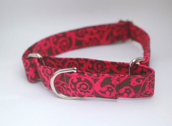 Pink and Brown Paisley Dog Collar - Martingale & Buckle 3/4 - 2 Inch Width - XS - XXL