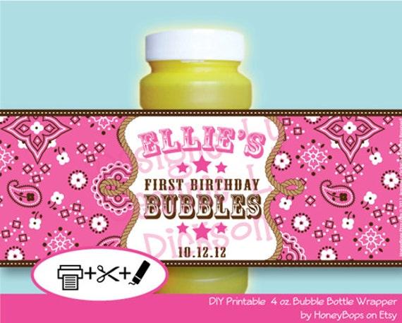 Pink Bandana Bubble Wrapper Birthday Baby Shower - Cowgirl Western Theme - Custom Printable - Digital PDF file
